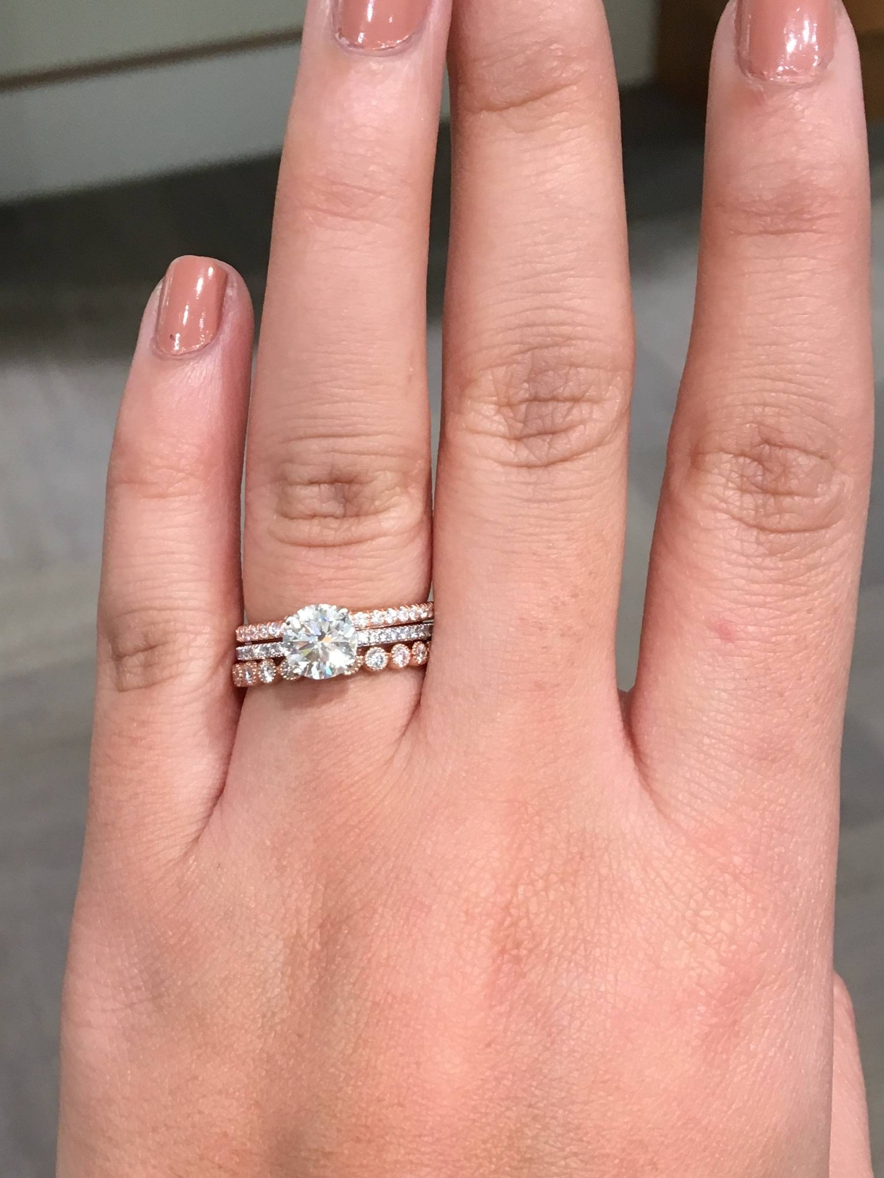 What Kind Of Wedding Bands Go With A Micro Pave E Ring? (prefer With Micro Pave Wedding Bands (View 6 of 15)