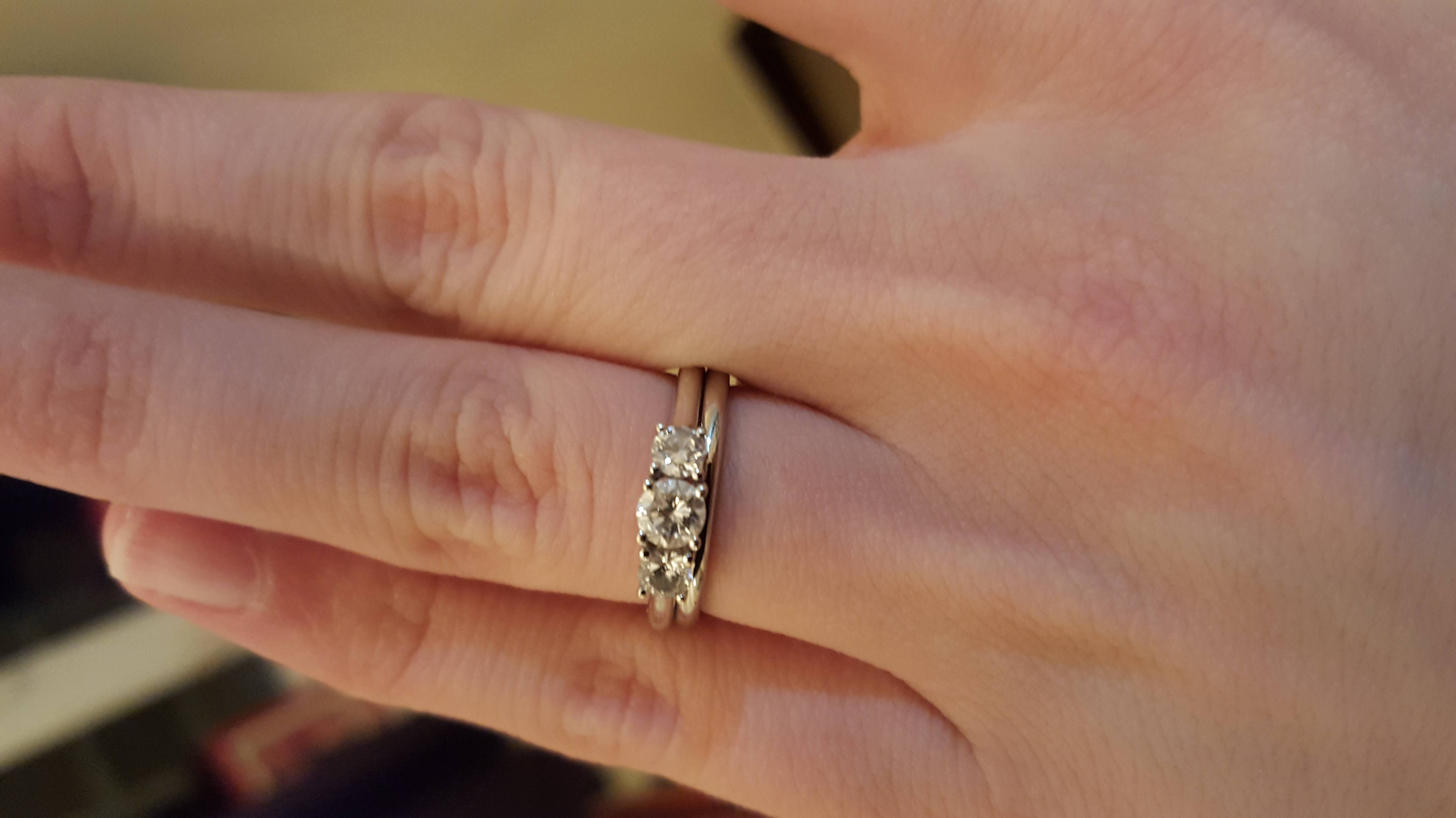 What Wedding Band To Go With A 3 Stone Engagement Ring? – Weddingbee Regarding Three Stone Engagement Rings With Wedding Band (View 15 of 15)