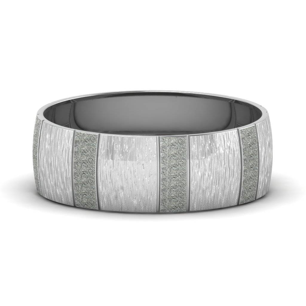 White Gold Carved Cross Satin Finish Mens Wedding Band Within Carved Wedding Bands (View 15 of 15)