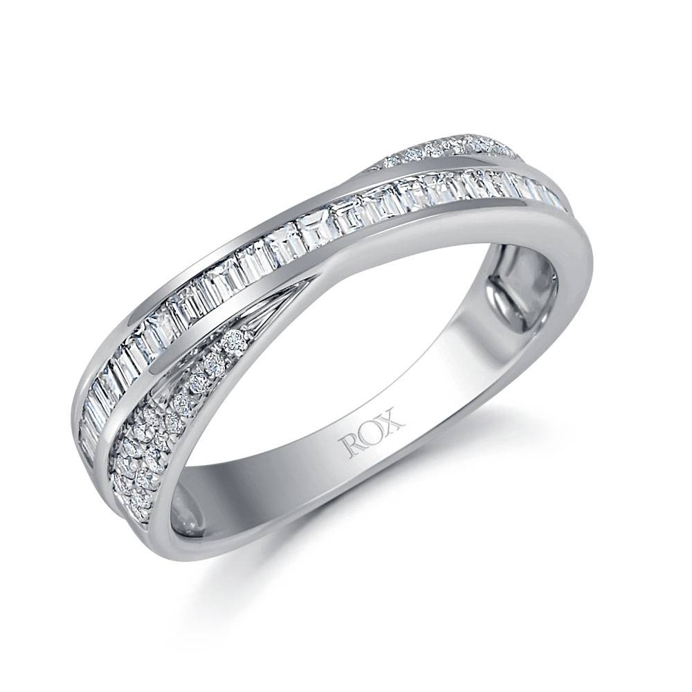 White Gold Crossover Diamond Ring  (View 14 of 15)