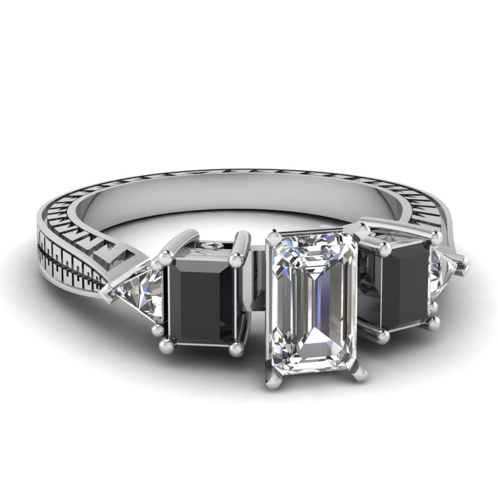 White Gold Emerald White Diamond Engagement Wedding Ring With Intended For Black Stone Wedding Rings (View 10 of 15)