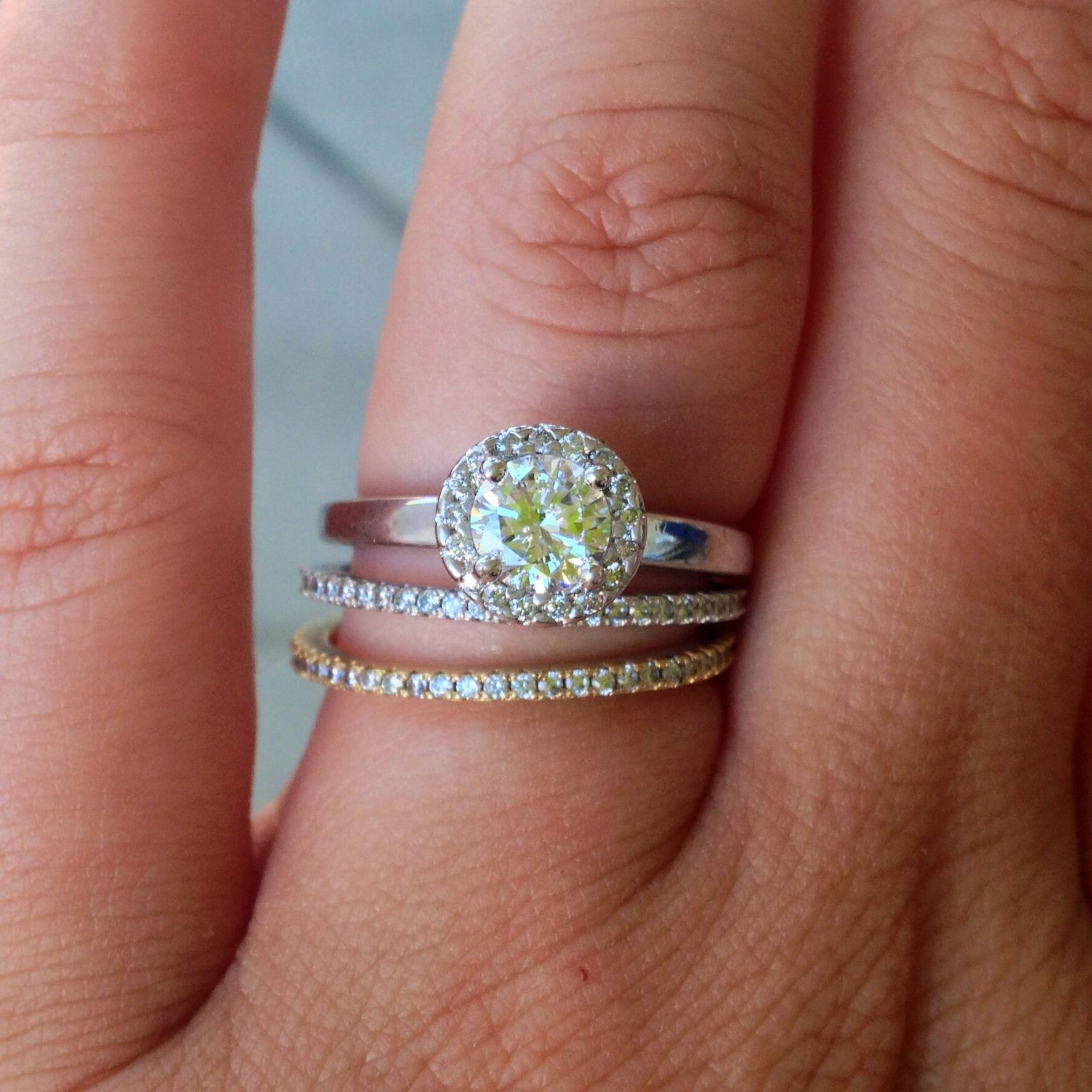 Featured Photo of Gold Wedding Bands With Silver Engagement Rings