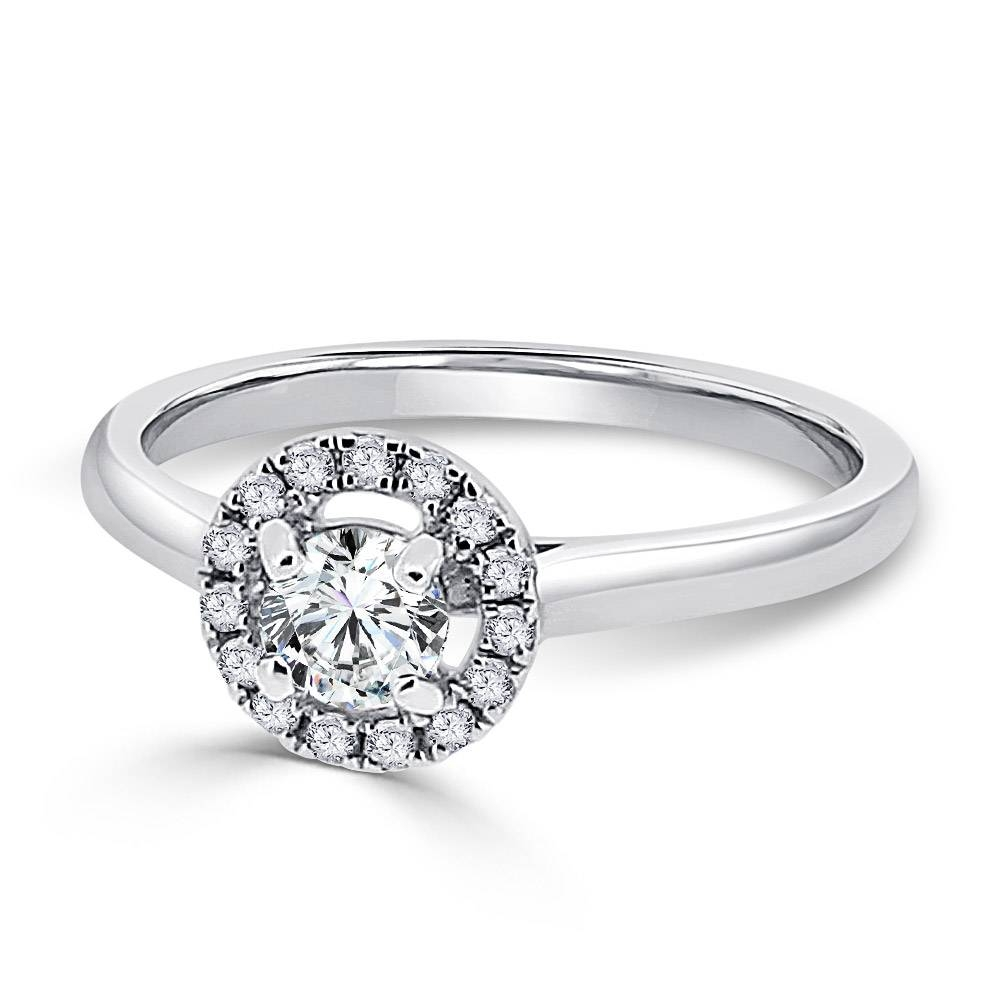 White Gold Halo Engagement Ring In Round Antique Engagement Rings (View 15 of 15)