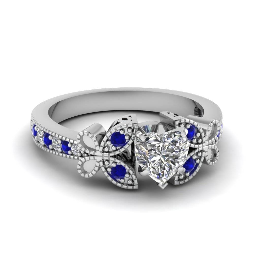 White Gold Heart White Diamond Engagement Wedding Ring With Blue For Butterfly Diamond Engagement Rings (View 3 of 15)
