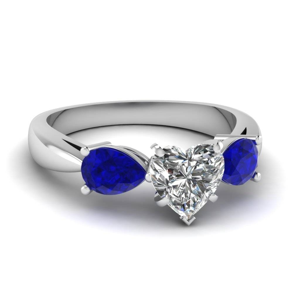 White Gold Heart White Diamond Engagement Wedding Ring With Blue Throughout White Gold Engagement Rings With Blue Sapphire (View 4 of 15)