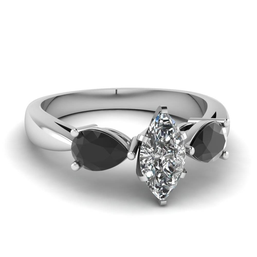 White Gold Marquise White Diamond Engagement Wedding Ring With Pertaining To Black Stone Wedding Rings (View 2 of 15)