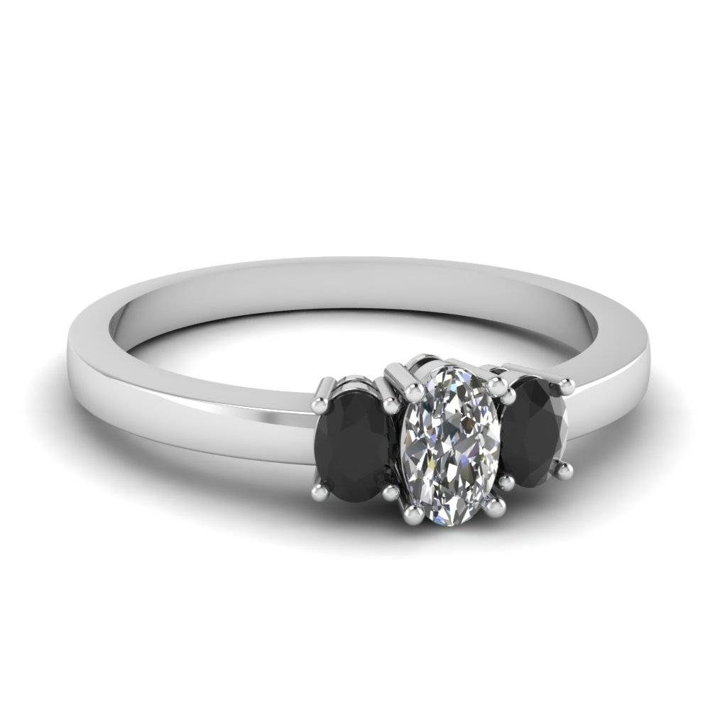 White Gold Oval White Diamond Engagement Wedding Ring With Black With Black Stone Wedding Rings (Gallery 1 of 15)