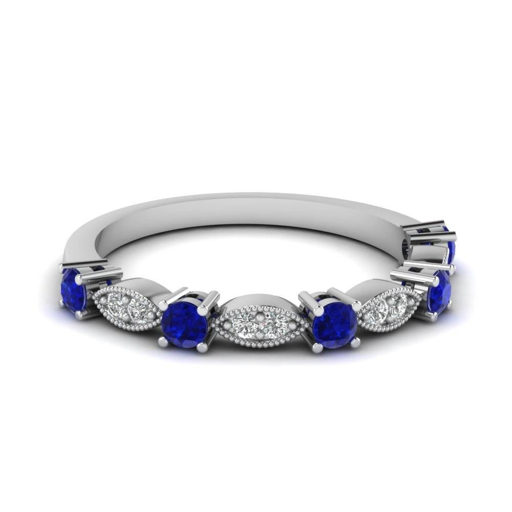 White Gold Round Blue Sapphire Wedding Band With White Diamond In Regarding Blue Sapphire Wedding Bands (View 15 of 15)