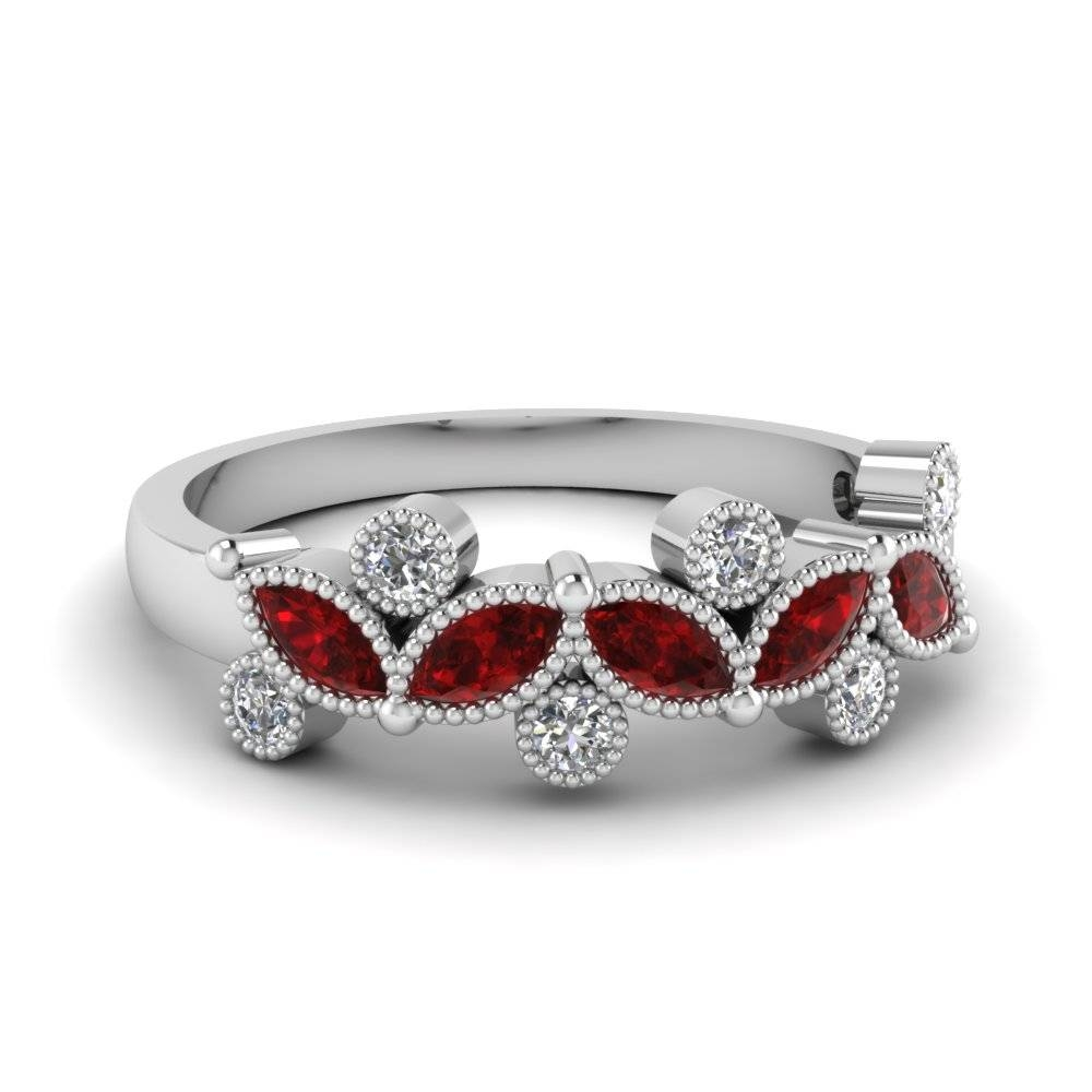 White Gold Round Marquise Red Ruby Wedding Band With White Diamond Throughout Most Recent Ruby Wedding Bands For Women (View 8 of 15)
