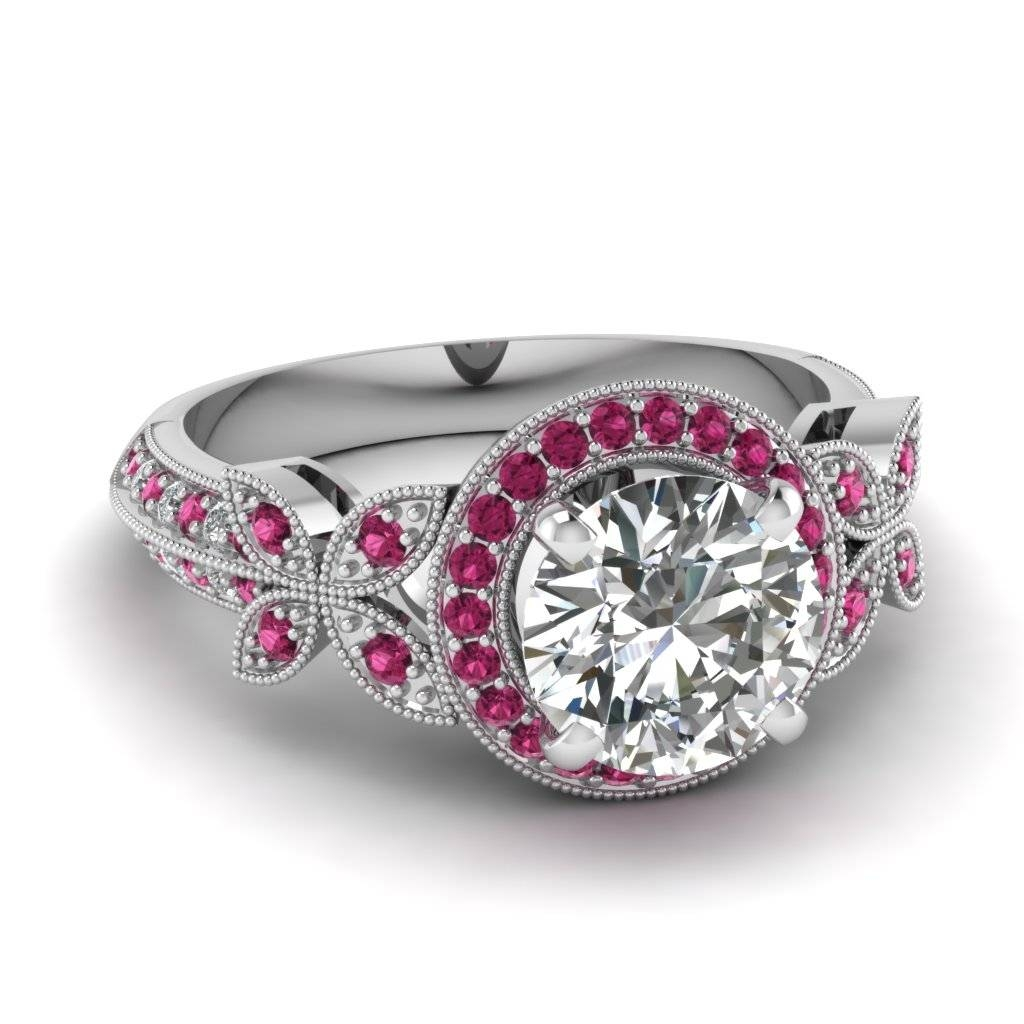 White Gold Round White Diamond Engagement Wedding Ring Dark Pink In Pink Sapphire And Diamond Engagement Rings (View 15 of 15)