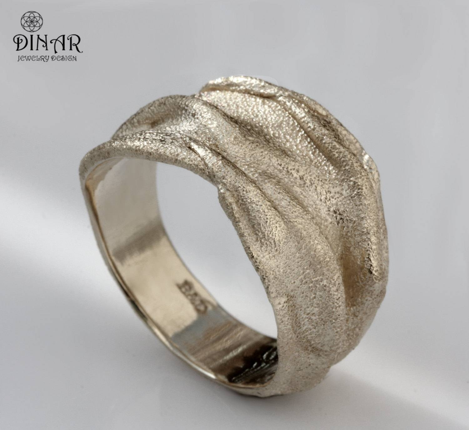White Gold Wedding Band 18K Gold Men Band 14K Golddinarjewelry Intended For Most Recent Thick White Gold Wedding Bands (View 13 of 15)