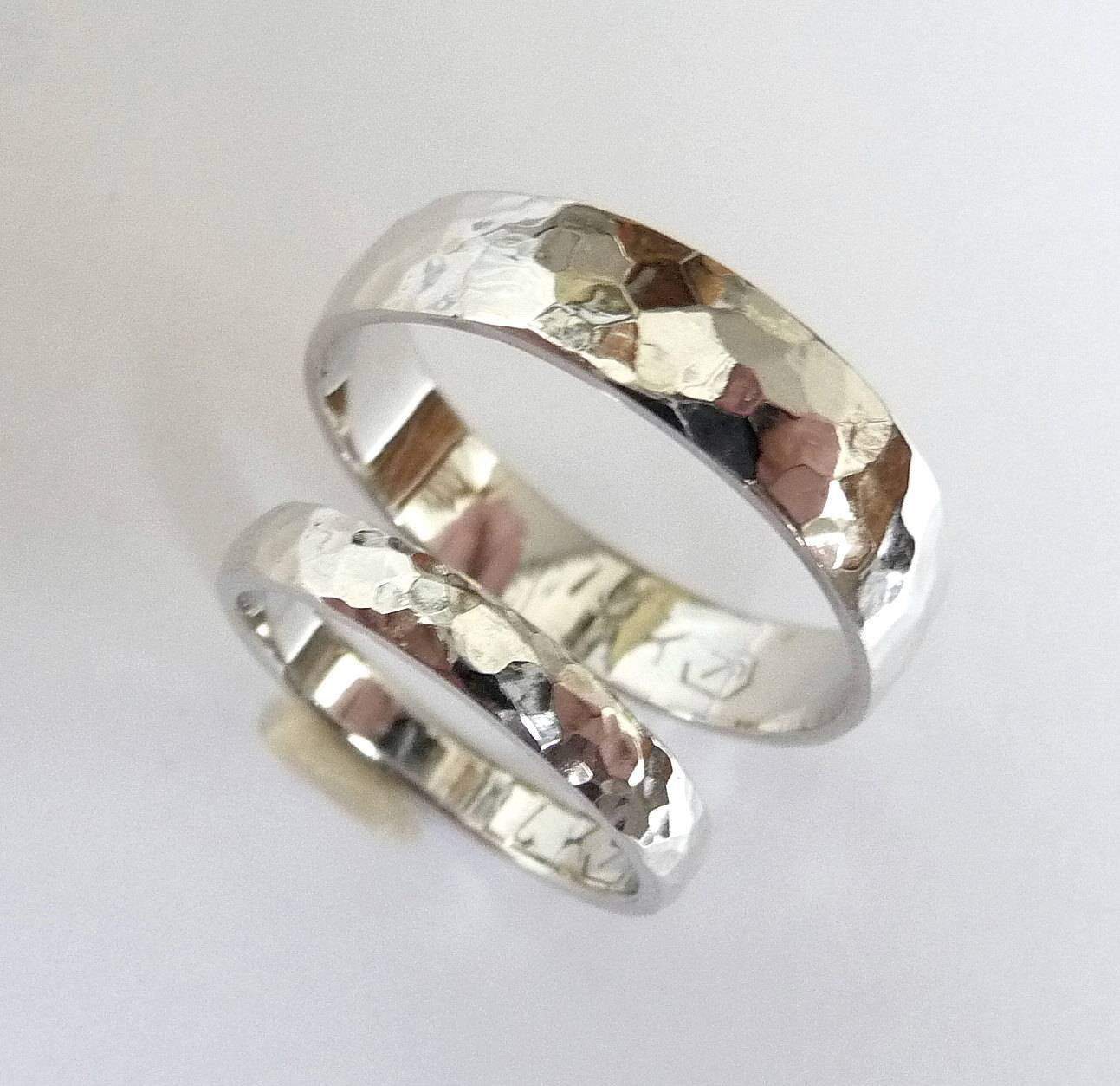White Gold Wedding Band Set Men Women Wedding Ring Hammered Intended For White Gold And Gold Wedding Bands (View 11 of 15)