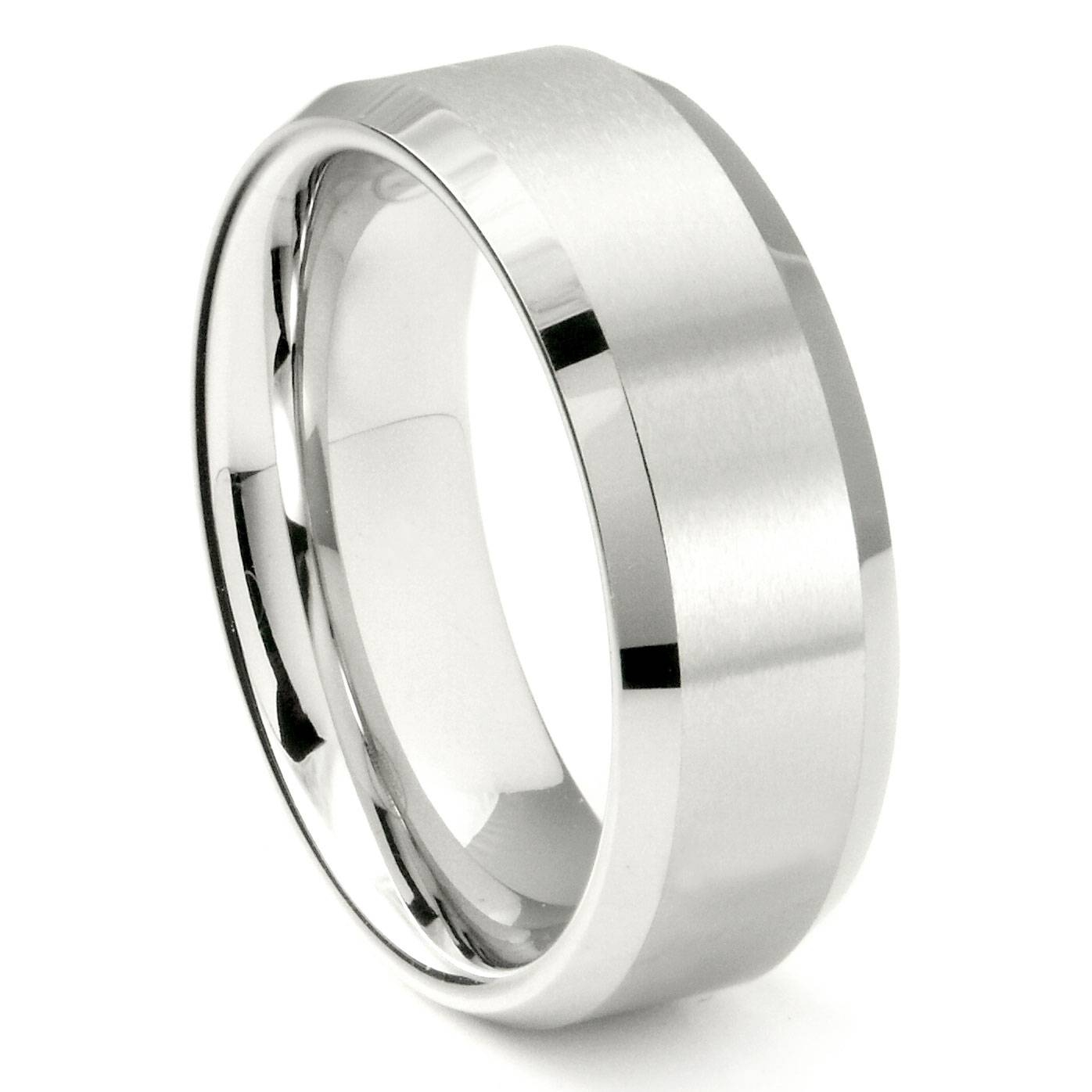 White Tungsten Carbide 8Mm Beveled Wedding Band Ring In 8Mm Tungsten Carbide Wedding Bands (View 15 of 15)