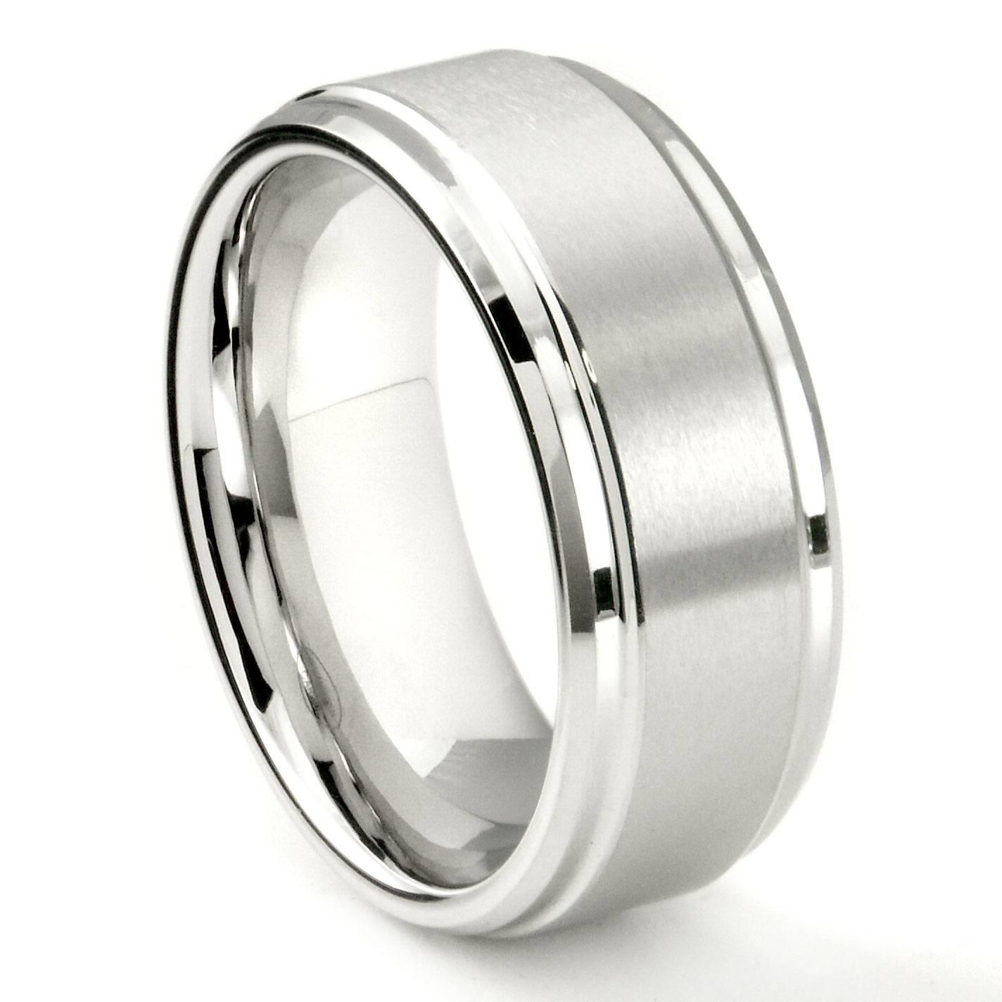 White Tungsten Carbide 9Mm Brush Center Wedding Band Ring Inside Tungsten Wedding Bands (View 15 of 15)