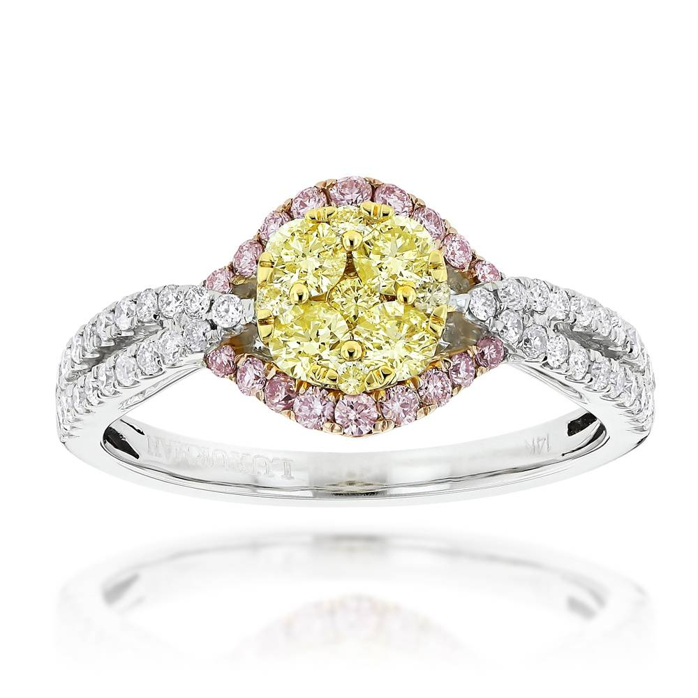 White Yellow Pink Diamond Engagement Ringluxurman (View 4 of 15)