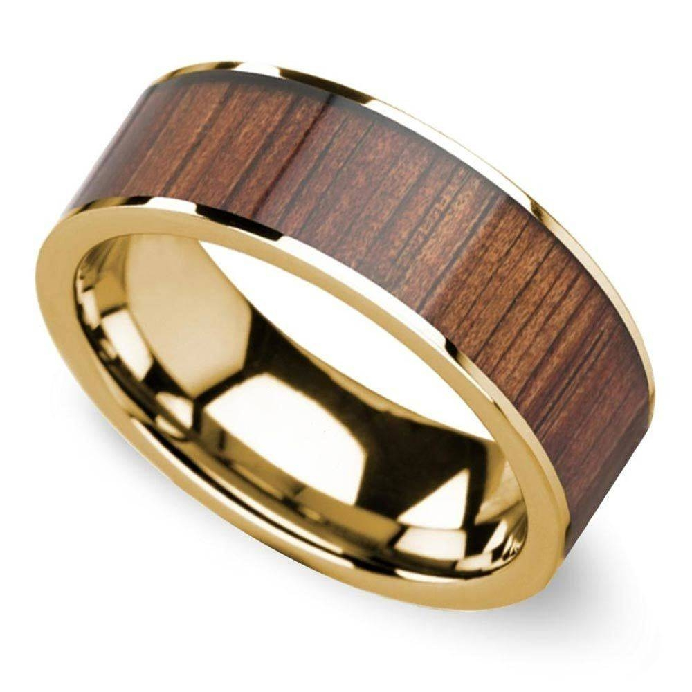 Wide Koa Wood Inlay Men's Wedding Ring In Yellow Gold Inside Wood Inlay Wedding Bands (View 14 of 15)