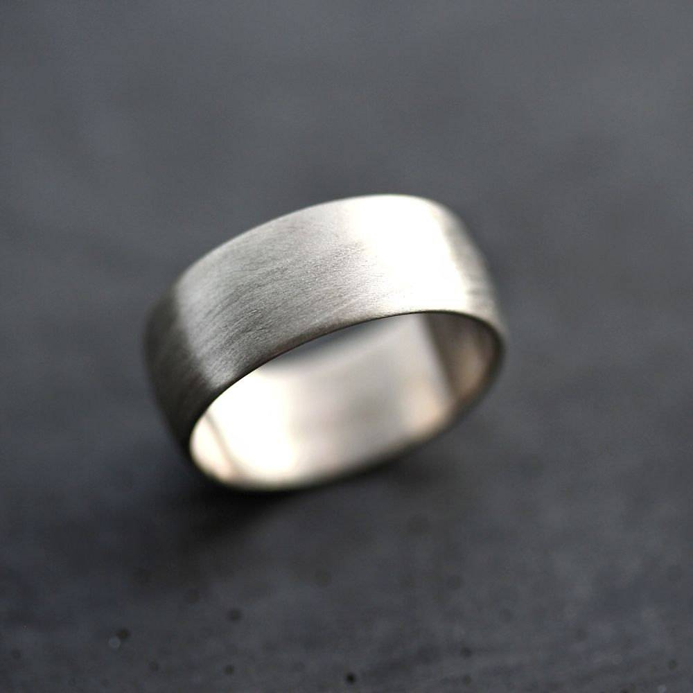 Wide Men's White Gold Wedding Band Recycled 14K Palladium In 8Mm White Gold Wedding Bands (View 14 of 15)