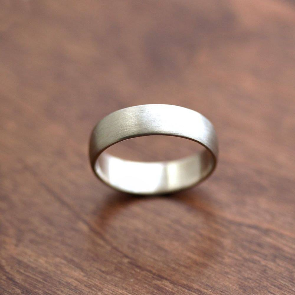 Wide Men's White Gold Wedding Band Recycled 14K Palladium With Regard To 6Mm White Gold Wedding Bands (View 15 of 15)