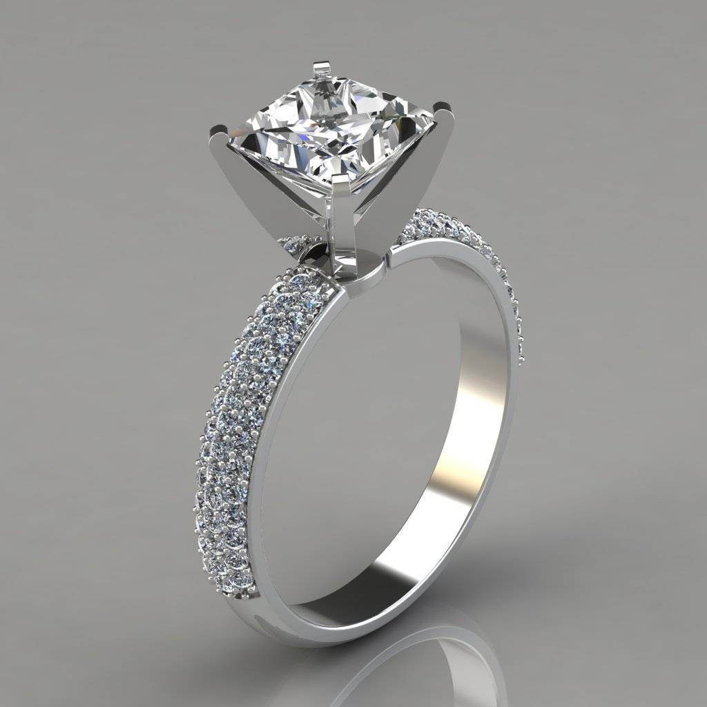 Wide Micro Pavé Princess Cut Engagement Ring – Puregemsjewels With Princess Cut Wedding Rings (View 15 of 15)