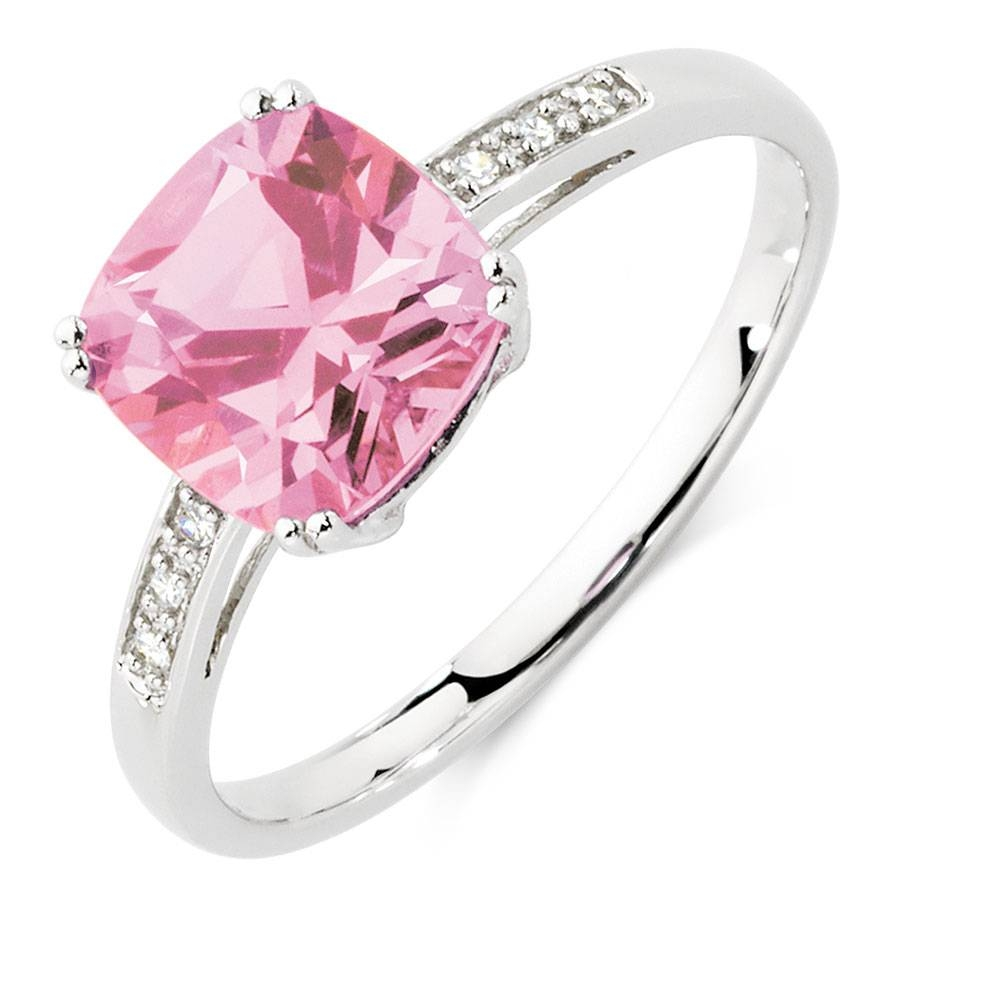 With Created Pink Sapphire & Diamonds In 10Kt White Gold In Pink Sapphire Engagement Rings With Diamonds (Gallery 5 of 15)