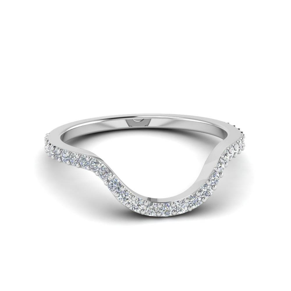 Women Diamond Curved Custom Wedding Band In 14k White Gold Intended For Contour Wedding Bands (View 4 of 15)