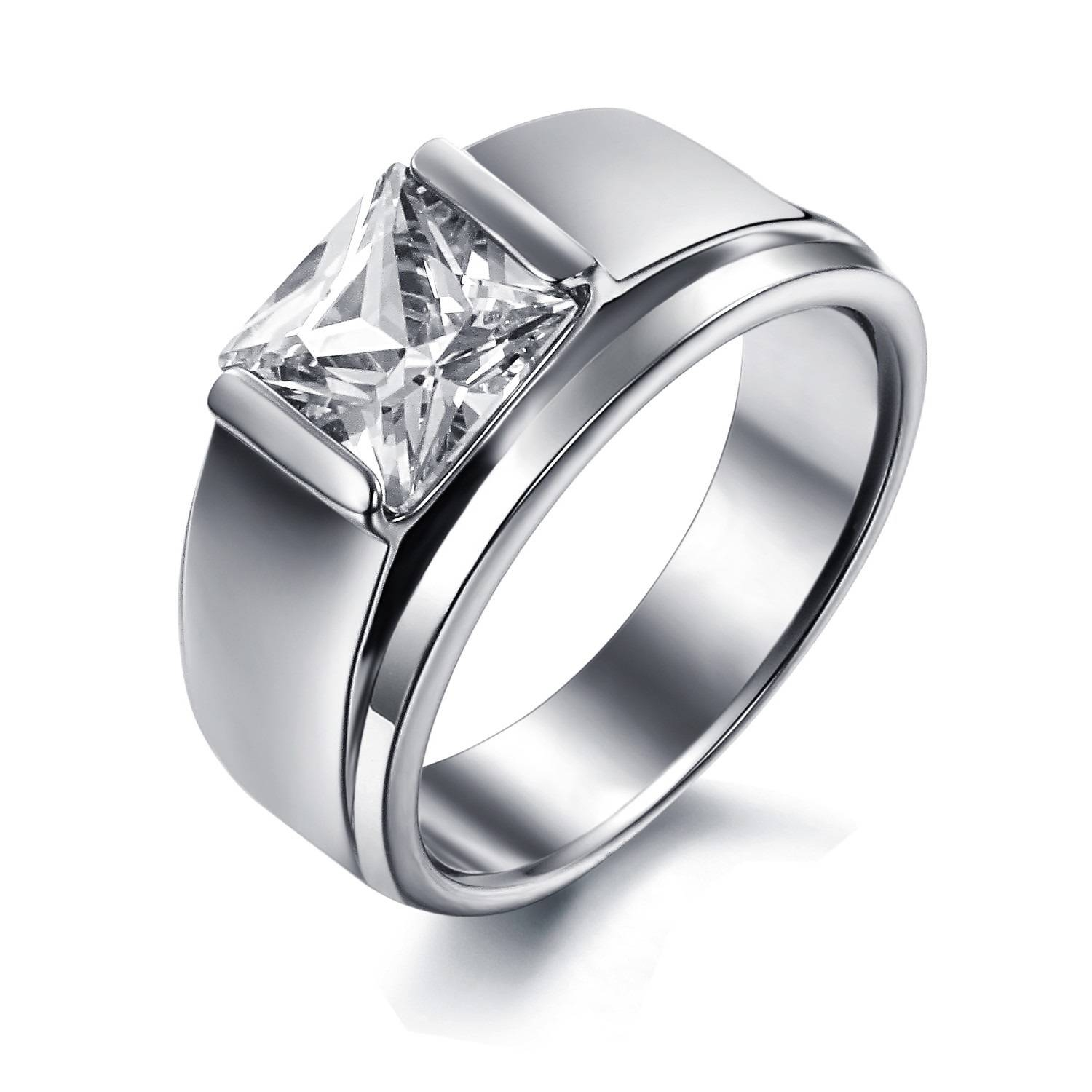 Women's Stainless Steel Engagement Promise Wedding Band Ring With Regard To Womans Wedding Rings (View 13 of 15)