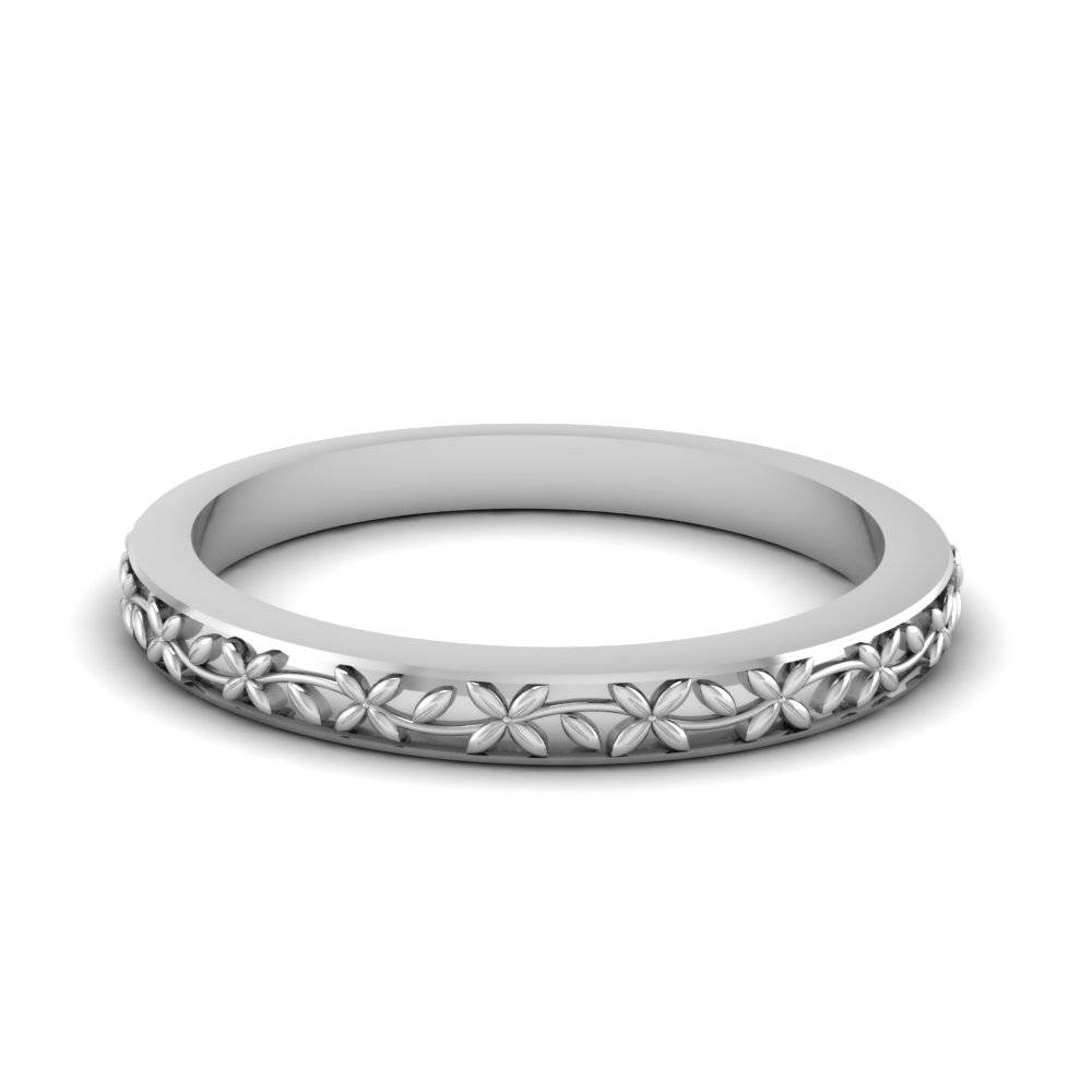Womens Vintage Wedding Ring In 14k White Gold | Fascinating Diamonds For White Gold And Gold Wedding Bands (View 2 of 15)