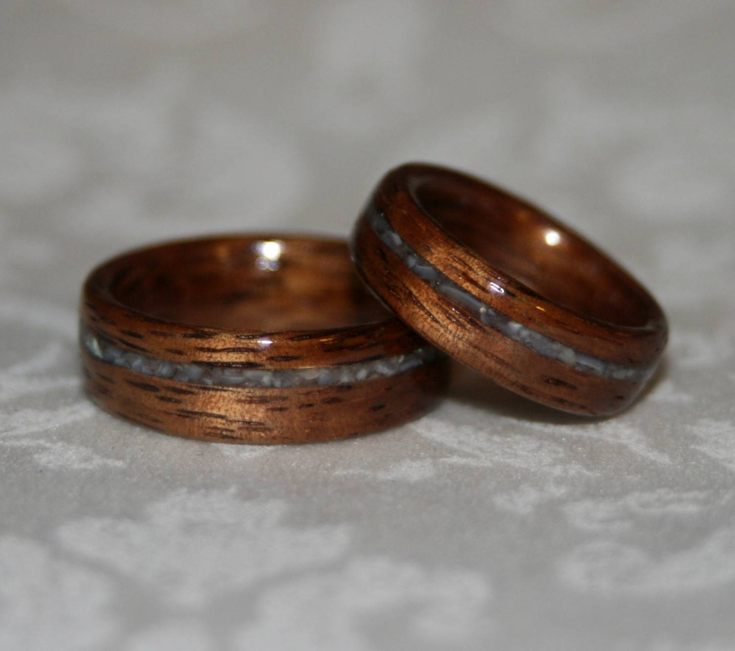 Wood Wedding Bands With Crushed Stone Inlay Bent Wood Method Intended For Wood Inlay Wedding Bands (View 15 of 15)