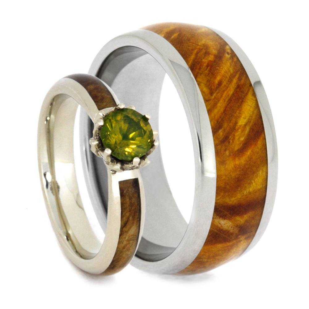 Wood Wedding Ring Set, Peridot Engagement Ring With Wood Ring For Wood Wedding Bands (View 9 of 15)