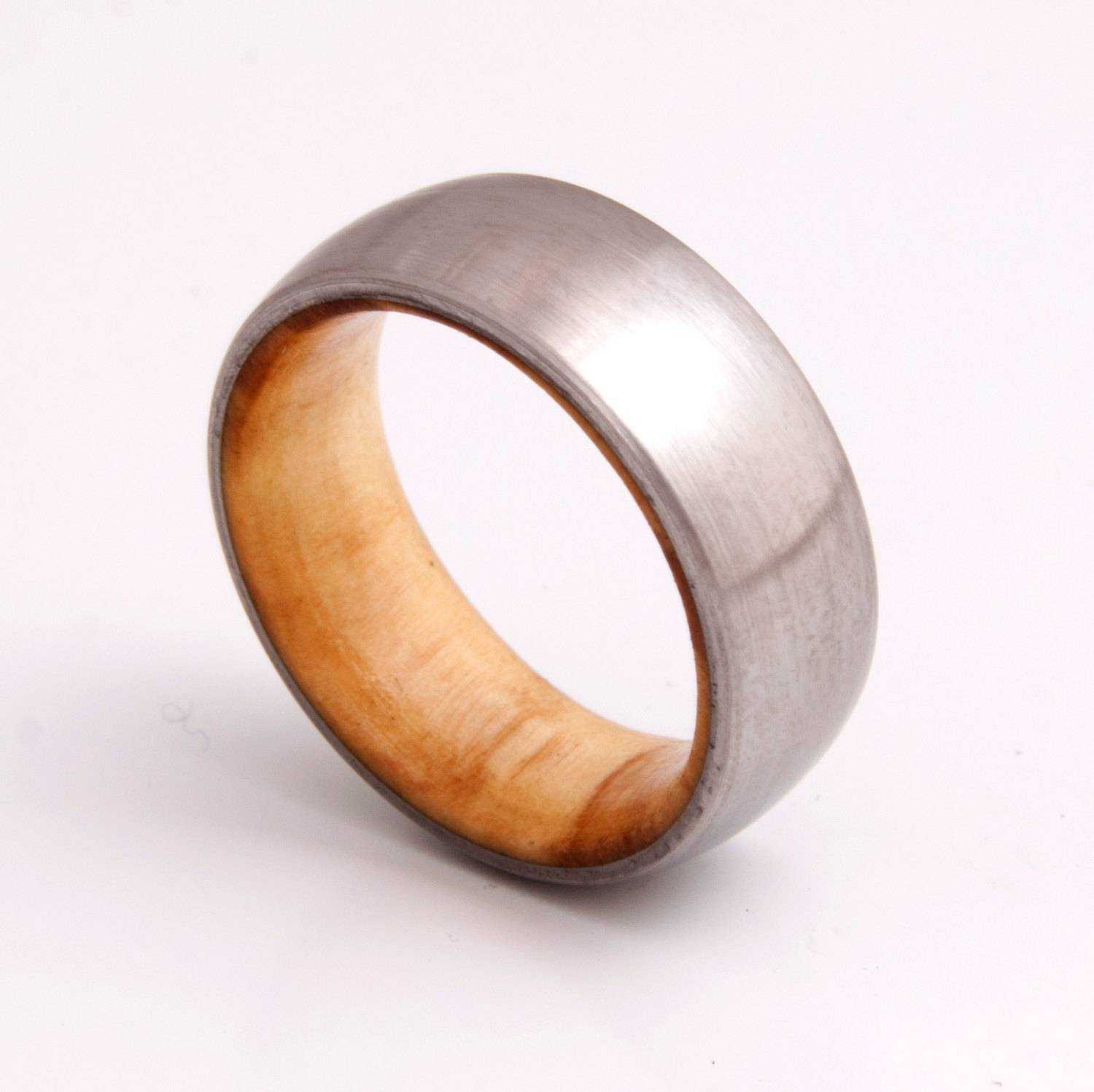 Wooden Ring / Wedding Band / Titanium Olive Wood Ring With Titanium Men Wedding Rings (View 3 of 15)