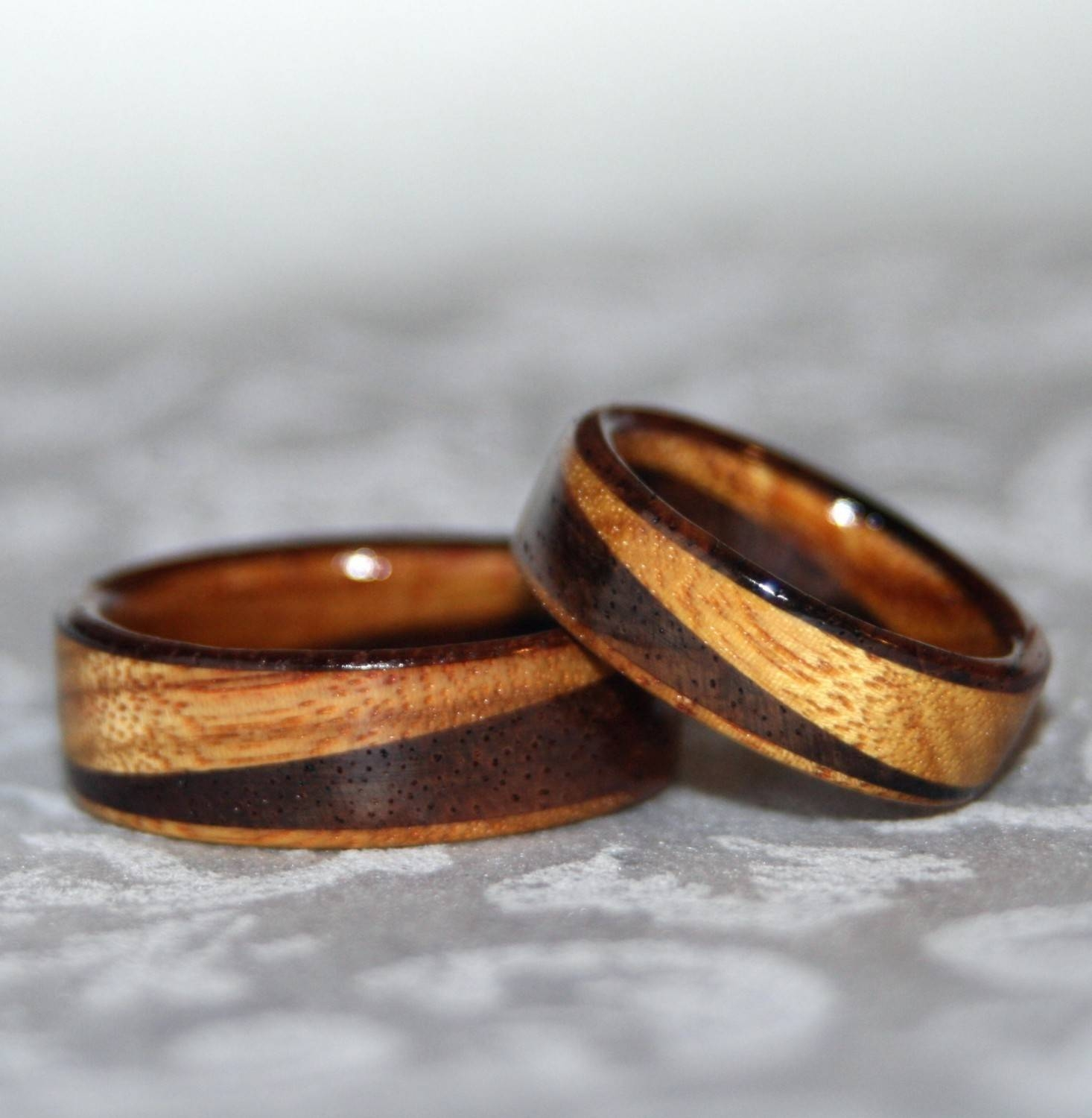 Wooden Rings Or Wedding Bands With Diagonal Design 2 Rings Throughout Wood Wedding Bands (View 13 of 15)