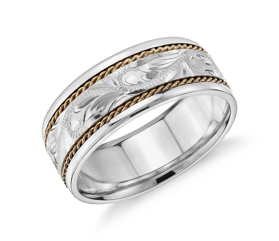 Yellow And White Gold Wedding Rings | Wedding, Promise, Diamond Throughout 8Mm White Gold Wedding Bands (View 15 of 15)