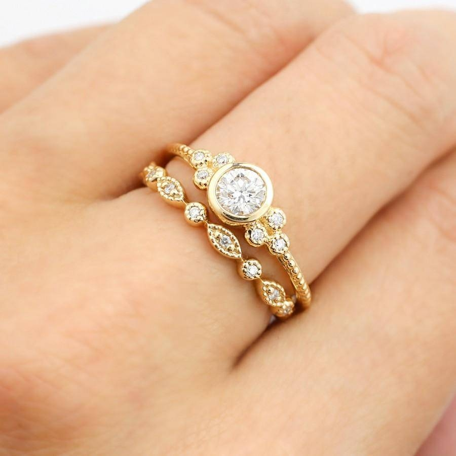 Yellow Gold Engagement Ring Set, 0.32Ct F Si 3Ex Gia Certified Throughout Latest Eternity Rings With Wedding Bands (Gallery 11 of 15)