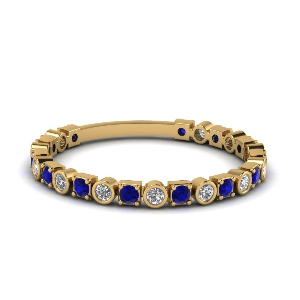 Yellow Gold Round Blue Sapphire Wedding Band With White Diamond In Pertaining To Wedding Bands With Gemstones (Gallery 1 of 15)
