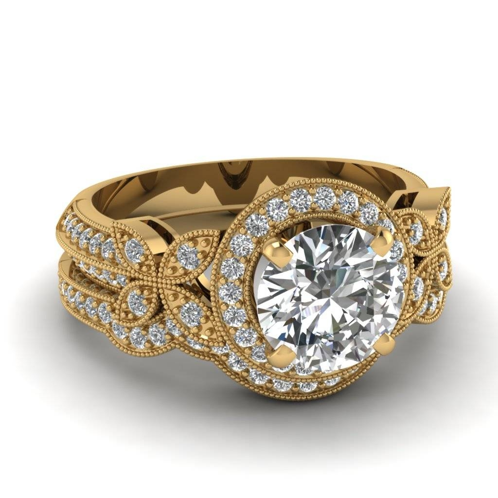 Yellow Gold Round White Diamond Engagement Wedding Ring In Pave Regarding Most Recently Released Yellow Gold Wedding Band Sets (Gallery 3 of 15)