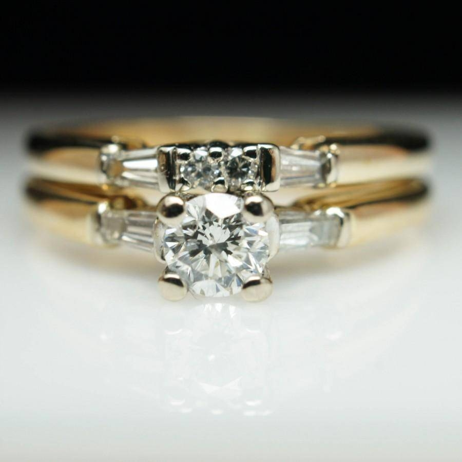 Yellow Gold Vintage Diamond Bridal Set Engagement Ring & Wedding Throughout Recent Vintage Engagement Rings And Wedding Bands (View 8 of 15)