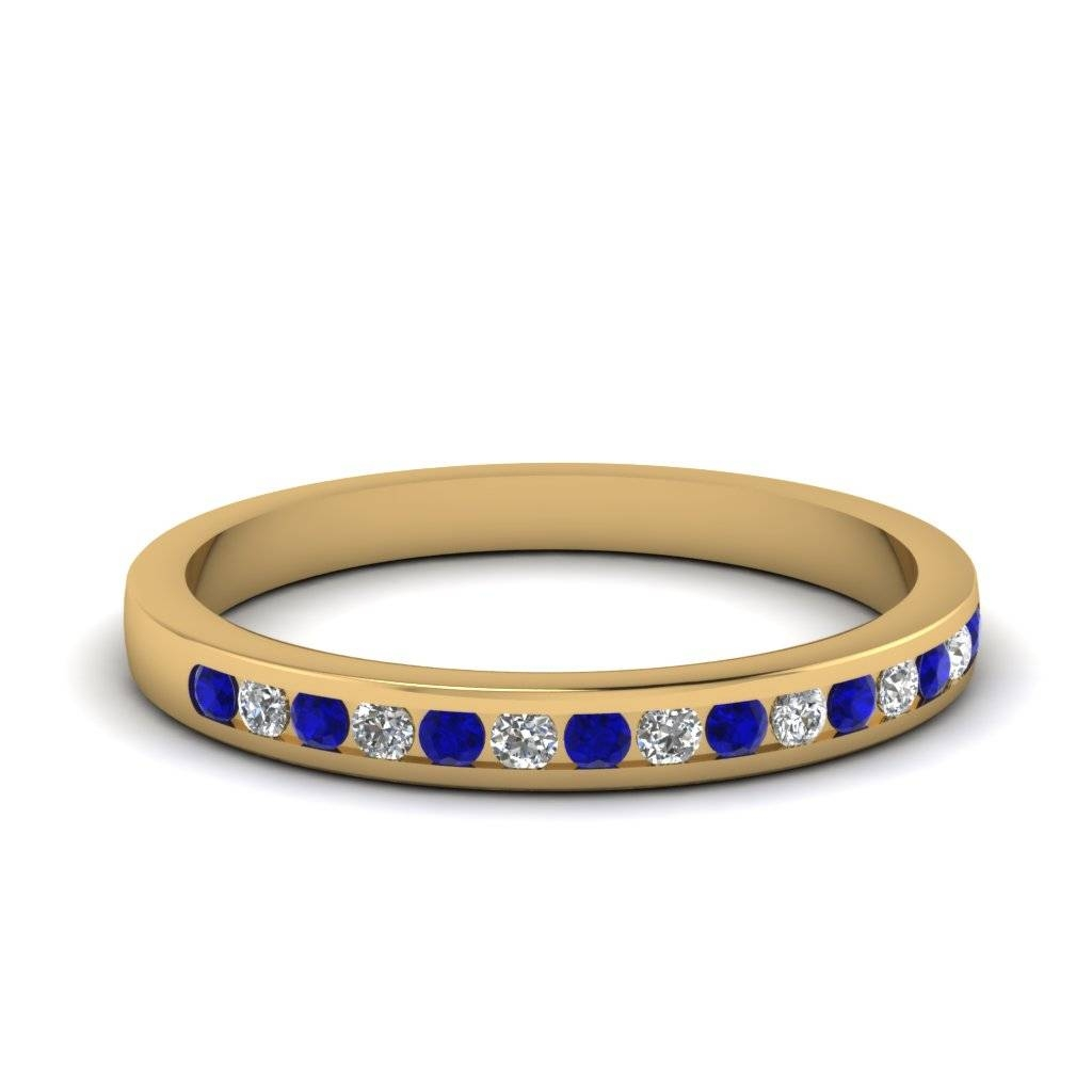 Yellow Gold Wedding Band White Diamond With Blue Sapphire In For Most Popular Yellow Gold Channel Set Wedding Bands (View 2 of 15)