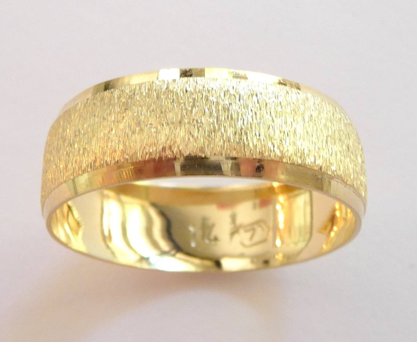 Yellow Gold Wedding Band Women Men Wedding Ring Domed With Pertaining To Gold Men Wedding Rings (View 3 of 15)