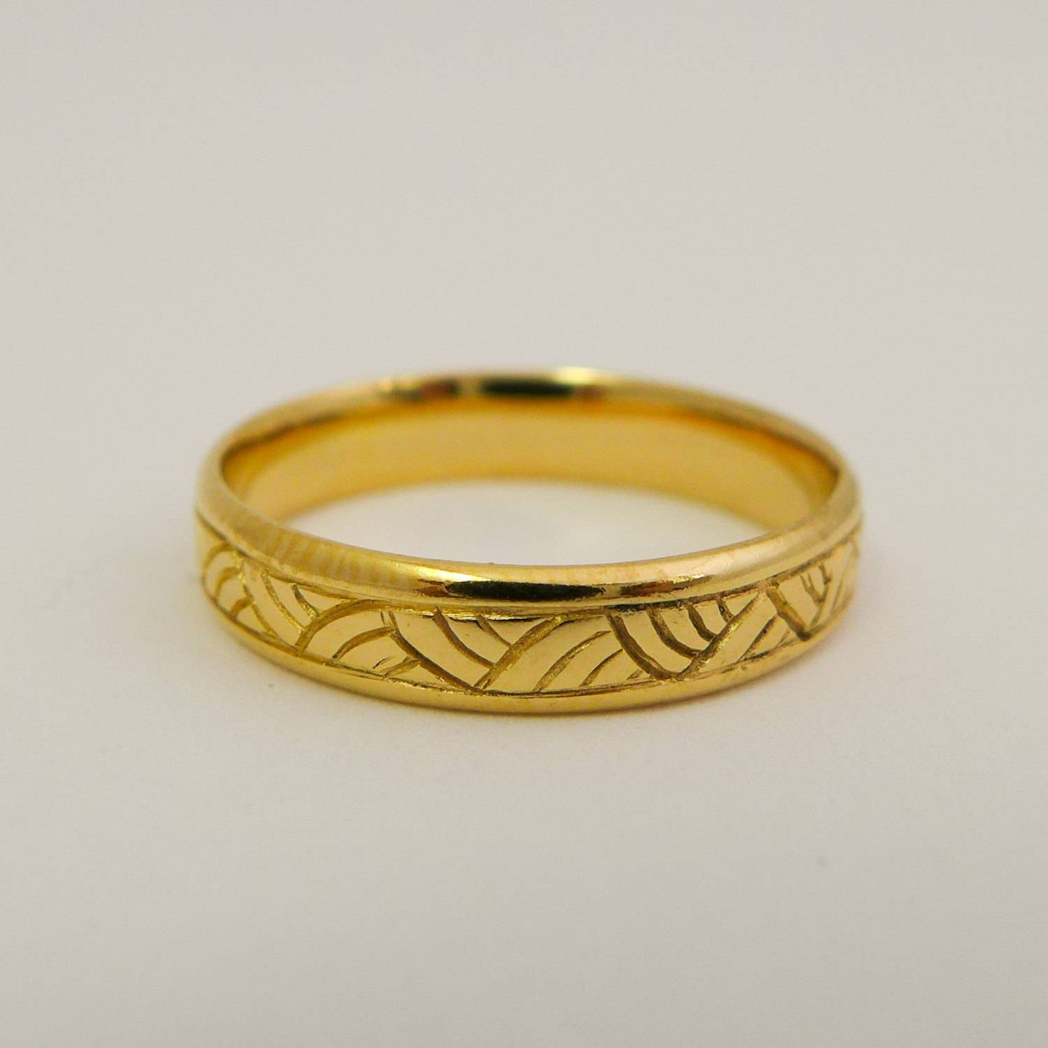 Yellow Gold Wedding Ring 14 Karat Solid Gold Wedding Band For Pertaining To 14 Karat Gold Wedding Bands (View 15 of 15)