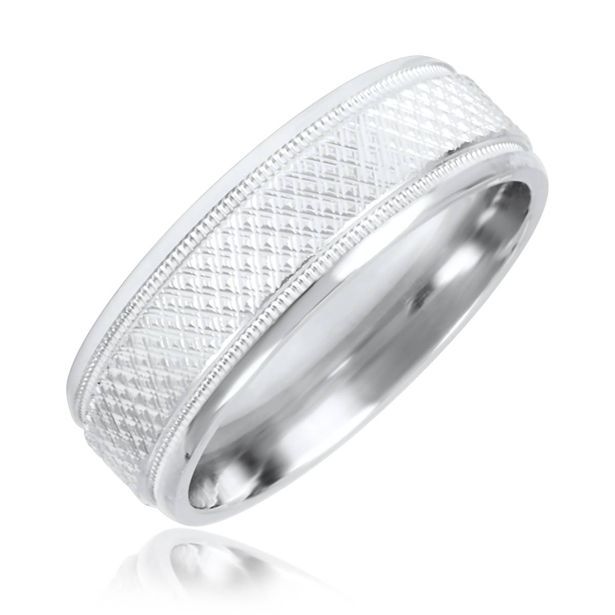 Zig Zag Mens Wedding Band 10K White Gold Pertaining To Most Recent Men White Gold Wedding Band (View 15 of 15)