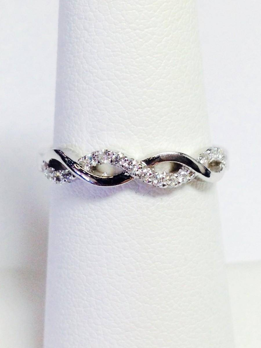 0.20Ct Diamond Crisscross Band Infinity Style Wedding Bands Within Recent Infinity Anniversary Rings (Gallery 12 of 25)