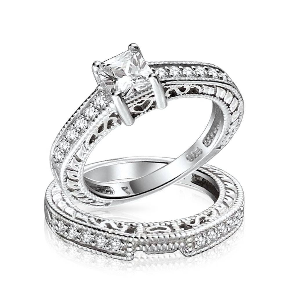0.75Ct (5Mm) Cz Sterling Silver Wedding Engagement Ring Set Intended For Most Popular Silver Wedding Anniversary Rings (Gallery 4 of 25)