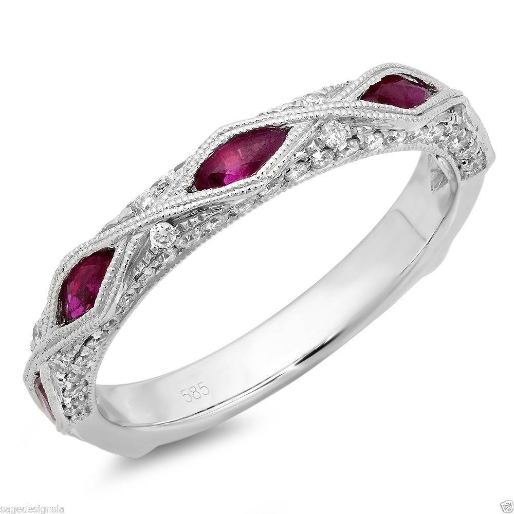 0.97Ct 14K White Gold Diamond Marquise Cut Ruby Vintage Regarding Newest Gemstone Anniversary Rings (Gallery 24 of 25)