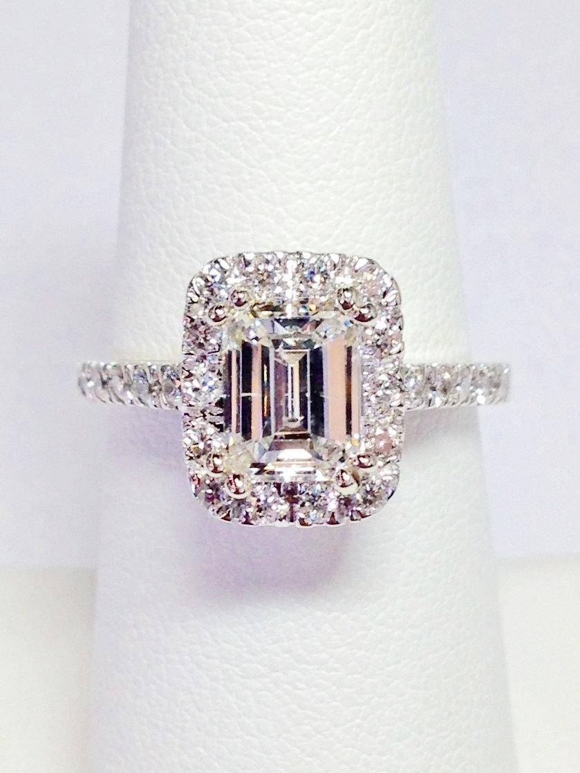 1.00Ct Diamond Emerald Cut Halo Engagement Ring Anniversary Band For Latest Halo Anniversary Rings (Gallery 14 of 25)