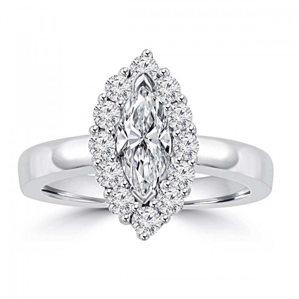1.46 Ct Ladies Marquise And Round Cut Diamond Anniversary Ring In In Current Marquise Anniversary Rings (Gallery 6 of 25)