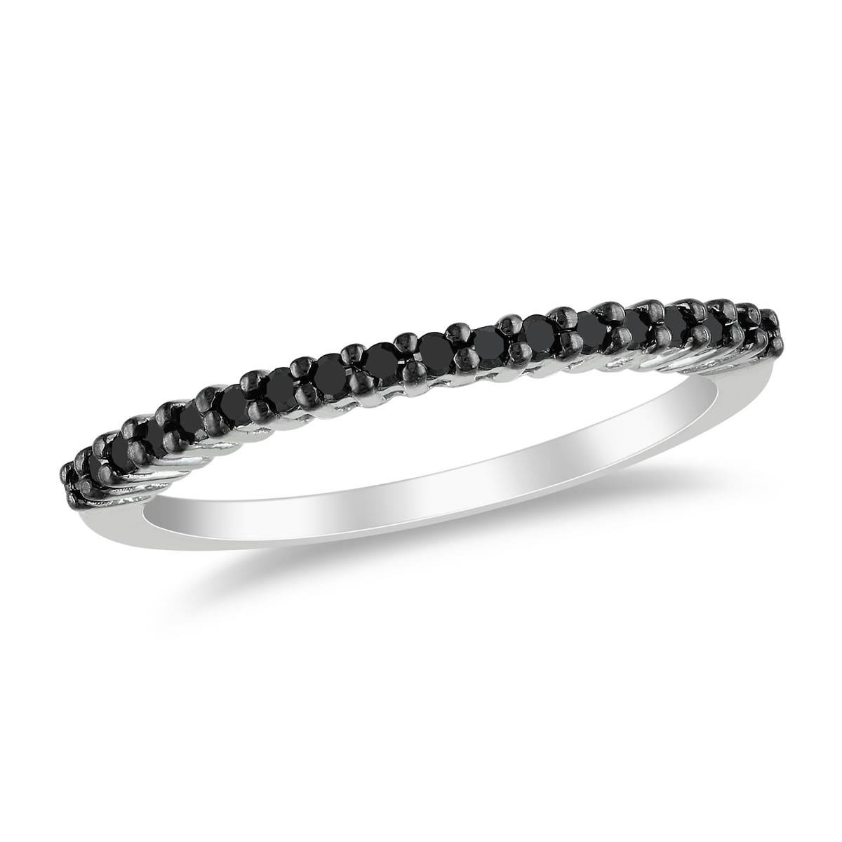 1/5 Ctw Black Diamond Anniversary Ring In Black Rhodium Over For Best And Newest 5 Diamond Anniversary Rings (Gallery 21 of 25)
