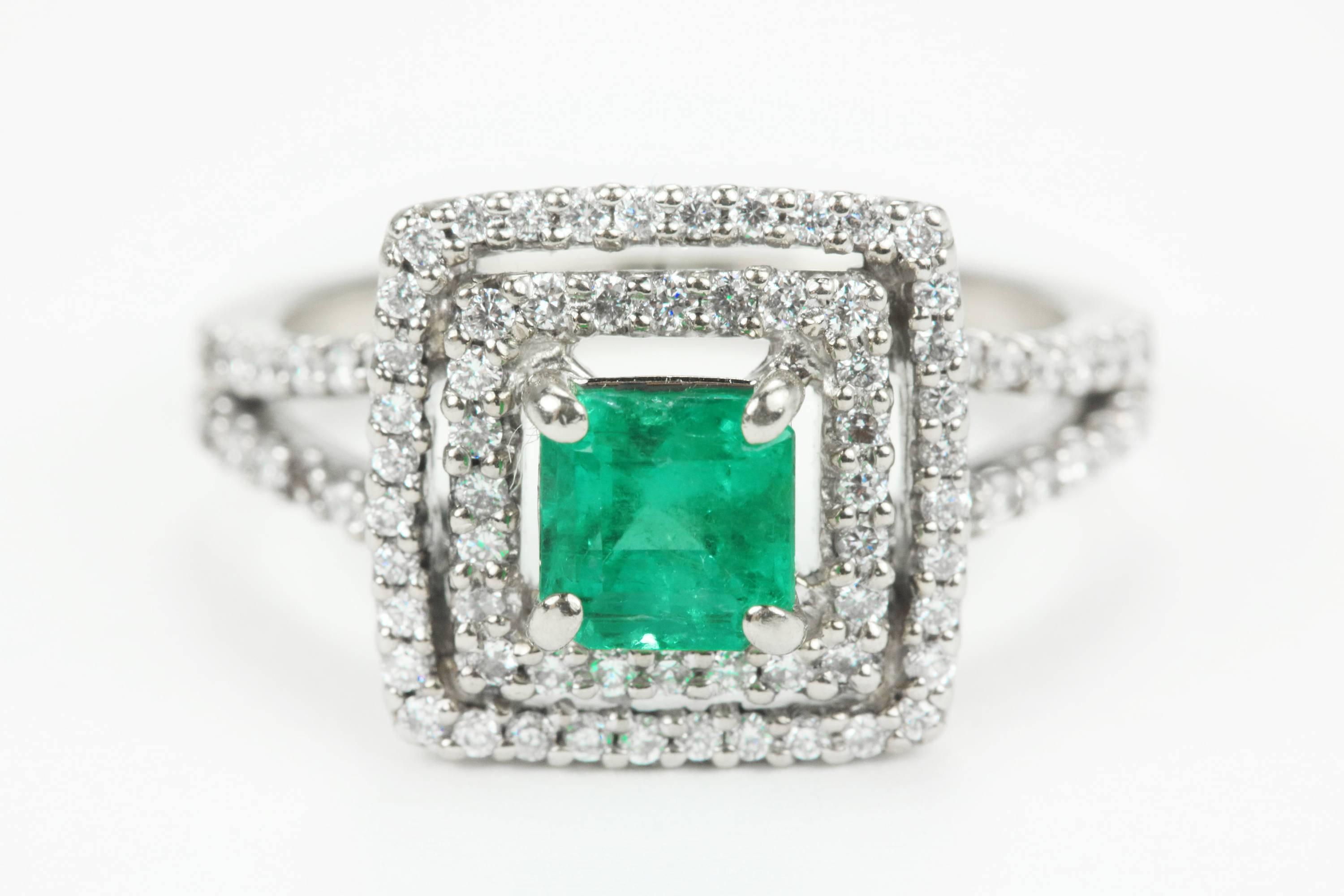 1.60Tcw Colombian Emerald Double Diamond Halo Ring – J R Jewels Within Most Popular Halo Anniversary Rings (Gallery 20 of 25)