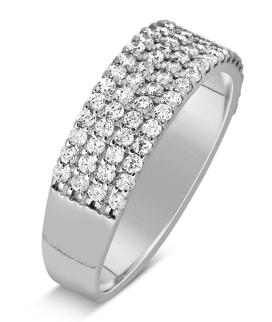 1 Carat 4 Row Diamond Wedding Ring Band For Her In White Gold In Most Recent Anniversary Rings For Couples (View 1 of 25)