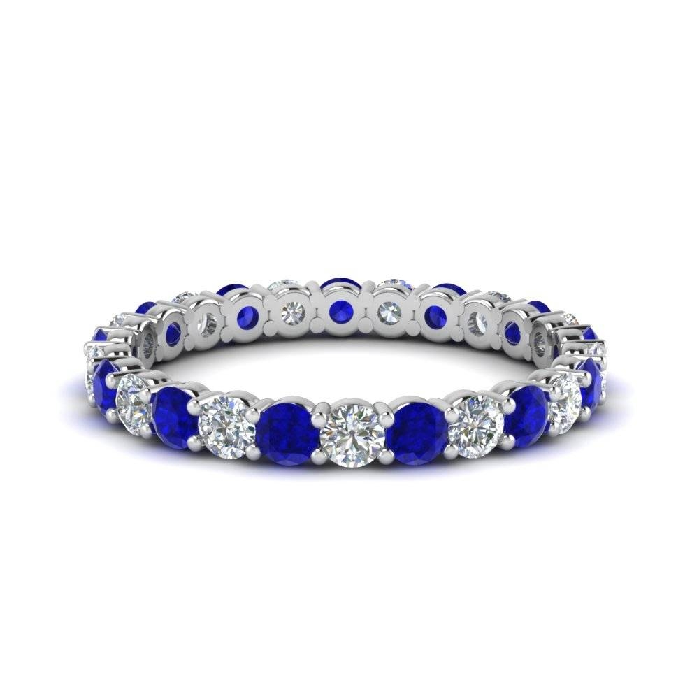 1 Carat Round Eternity Anniversary Diamond Ring With Blue Sapphire Throughout Most Recently Released Blue Sapphire Anniversary Rings (View 1 of 25)