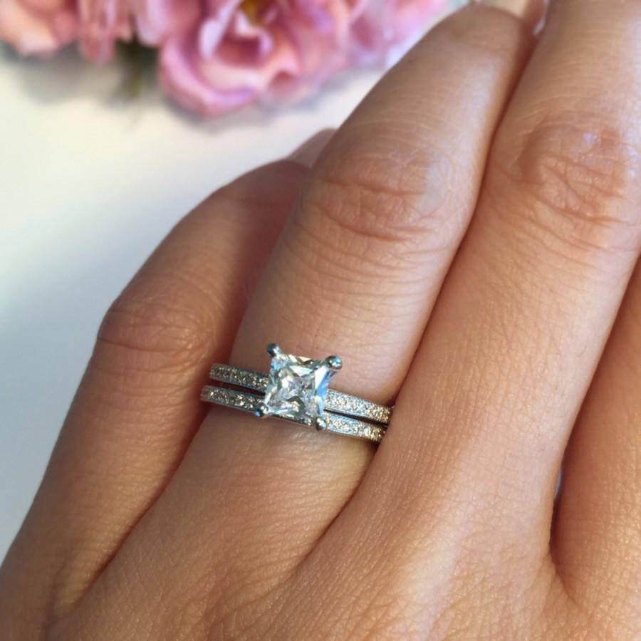 1 Ctw Princess Cut Wedding Set, Man Made Diamond Simulants Regarding Most Recently Released Anniversary Rings Sets (View 1 of 25)